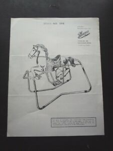 1960's ASSEMBLY INSTRUCTIONS FOR BLAZON WAR CLOUD ROCKING HORSE STOCK NO. 598