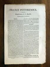 HUGO France Pittoresque MOSELLE 1835 Avec carte & 5 gravures LORRAINE