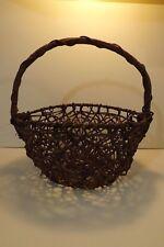Handmade Woven Grapevine Folk Art Basket w/ Metal Frame Country Rustic Decor