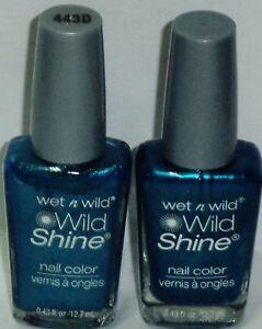 2 Original Wet n Wild WILD SHINE Nail Polish BIJOU BLUE #443D Discontinued