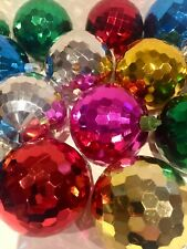 16 VIntage Pretty Glitter Disco Ball Christmas Tree Baubles Decorations  LOT 2