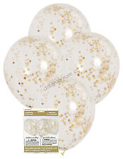 6 x Gold Confetti Clear Party Balloons Wedding Birthday Decoration 30cm Helium