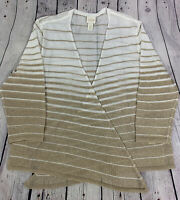 Chico's White Gold Metallic Stripe Open Cardigan Sweater Size 2 Semi Sheer