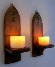 PAIR OF 32CM RUSTIC WOOD GOTHIC CHURCH WALL SCONCE LED CANDLE HOLDERS