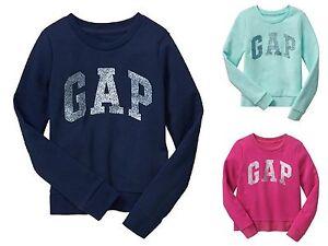 New GapKids Girls Sparkle arch logo pullover fleece sweatshirt Top XS S XXL