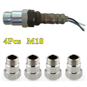 4Pcs Iron M18 O2 Oxygen Sensor Extension Extender Adapter Spacer For 18mm Thread