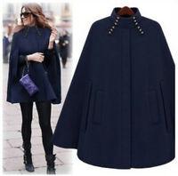 Womens Cloak Cape Wool Poncho Batwing Jacket Coat parka Outwear Winter Warm new