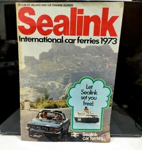 Sealink Car Ferries Brochure inc 1973 Year Timetable Vintage Shipping Schedules