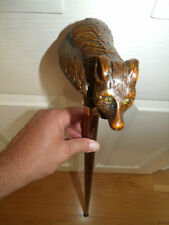 FOX WALKING STICK CANE ANIMAL HANDLE WILD CARVED FOX BEECH WOOD BROWN SHAFT 37""