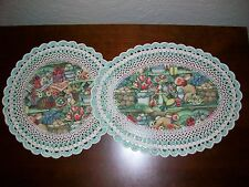 Set of 2 New Handmade Crochet Doilies--Easter Bunny/Flowers,Baskets and Eggs