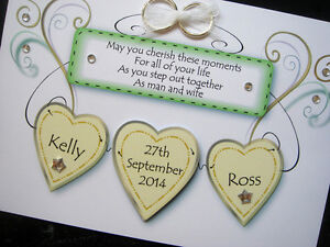 Hand-made personalised wedding hearts card (can request wedding colours)