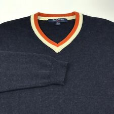 Brooks Brothers Youth Boys Pullover Sweater Size L Navy Blue Wool Fleece V Neck