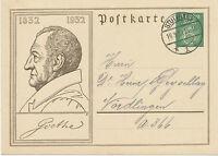 DT.REICH 1932 Sonderpostkarte 100jährigen Todestag Goethes 6 Pf STUTTGART