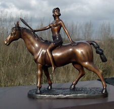 Goddess Athena on horse - bronze allegoric statue - not signed - est. 1920's