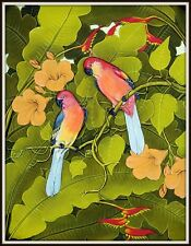 """Original  Balinese Painting """"Parrots in the Hibiscus"""" (15.5"""" High x 11.5"""" Wide)"""