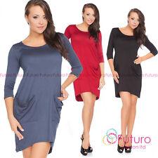 Womens Asymmetric Tunic With Pockets 3/4 Sleeve Party Mini Dress Size 8-12 8183