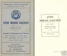 Morane-Saulnier AI Type Archive Manual 1918 WWI WW1 VERY RARE Parasol wing
