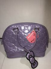 New Loungefly Loves Hello Kitty Embossed Large Satchel Patent Purple