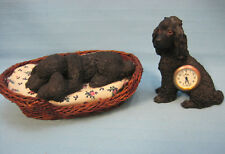 2 Poodle Dog Figurines Statue Sitting - Clock Lying - Sandicast Black Small