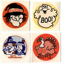 Lot 4 Vtg 80s TREND Matte Scratch & Sniff Stickers NO TM HALLOWEEN THANKSGIVING