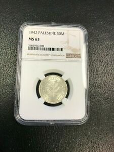 1942 50 Mils NGC MS63 Coin Palestine - Israel - High Grade!!!