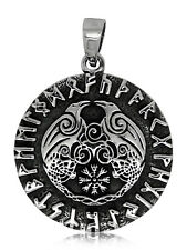 925 solid Sterling Silver Odin Raven God with Runes 2 Ravens Helm of Awe pendant