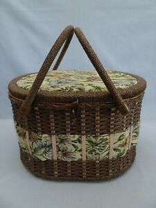 Wicker and Tapestry Double Handle Large Vintage Sewing Basket Box & CONTENTS
