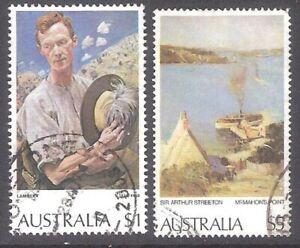 paintings  1974, 1979 Australia 2 used stamps Mi 546, 672