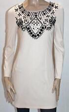 LIPSY UK Designer Nude Beaded Neckline Long Sleeve Dress Size S BNWT #sX40