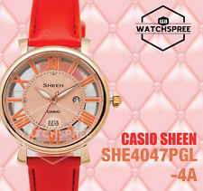 Casio Sheen Swarovski Crystals 3-Hand Analog Series Watch SHE4047PGL-4A