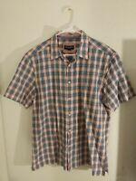 Johnston & Murphy Men's Tricolored  Plaid Button Down Short Sleeve Shirt Cotton
