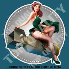 PIN UP GIRL BOMBER Decal Sticker for Mancave Hot Rod Retro Vintage USA Stickers