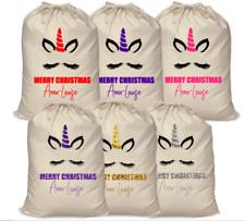 Personalised kids your name Christmas glitter Unicorn Santa sack sparkle eyelash