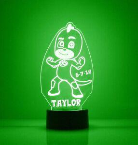 PJ Masks Gekko, Engraved LED Night Light, with Remote Control, Kids Rom Light Up