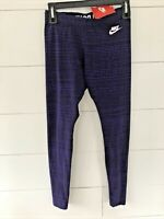 Nike Women's Purple Striped Athletic Running Casual Leggings Size Small NWT