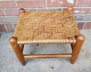 Vintage Wooden Wicker Rattan Cane Top Foot Stool Woven