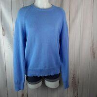 Brooks Brothers Red Fleece Womens Sweater M Blue Crew Neck Cotton Medium