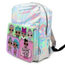 Personalised Girls Backpack LOL DOLLS Holographic Shiny Silver School Bag KS118