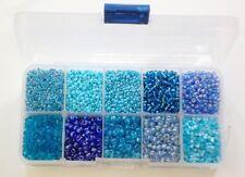 Rocailles Perlen 2mm 3mm 4mm 6mm Blau Türkis Set Silbereinzug Matt BEST AM3