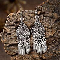 Vintage Bohemian Boho Style Round Silver Long Tassel Dangle Women Earrings Gift