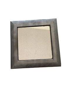 """Vintage 14x14"""" Handpainted Silver Square Wall Mirror Beveled Edges"""
