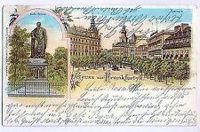 L 9 - Litho, Gruss ausFrankfurt, Goethedenkmal, Rossmarkt, 1899 gl