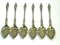 Antique Six Elkington England 1852 Gold Wash Silver Plated Figural Cupid Spoons