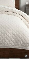 Pottery Barn Belgian Flax Linen Diamond Quilt, King/Cal King, Ivory