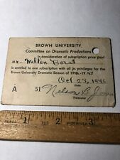 Vintage 1946-47 Brown University Committee Dramatic Productions Season Pass Card