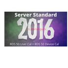 Server 2016 Standard + Remote Desktop Services RDS 50 User + RDS 50 Device Cal