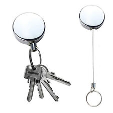 Heavy Duty Retractable Steel Reel Recoil Chain ID Holder Badge Key Ring US