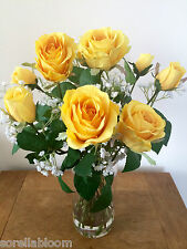 STUNNING ARTIFICIAL FLOWER VASE ARRANGEMENT YELLOW ROSES & GYPSOPHILA IN WATER