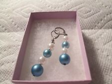 "Earrings,pierced. pearl and blue beads w/ gold tone fittings 2"" drop"