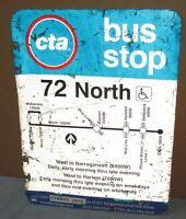 Used/Vtg CTA Bus Stop 72 NORTH Chicago Aluminum Sign 24 x 18 S664